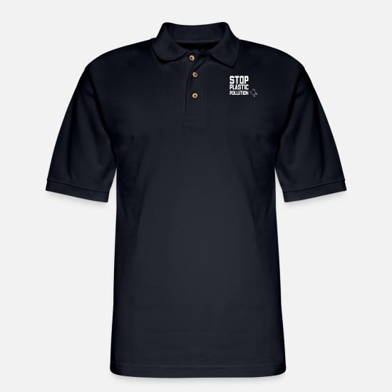 Pollution Polo Shirts - anti pollution - Men's Pique Polo Shirt midnight navy