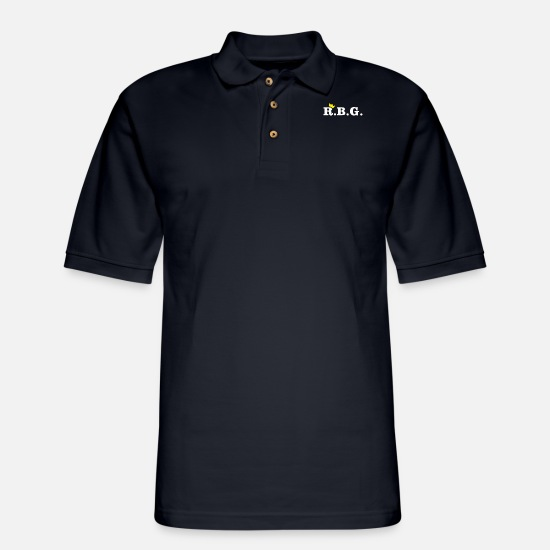 Political Polo Shirts - R.B.G. Ruth Bader Ginsburg Design With Crown - Men's Pique Polo Shirt midnight navy