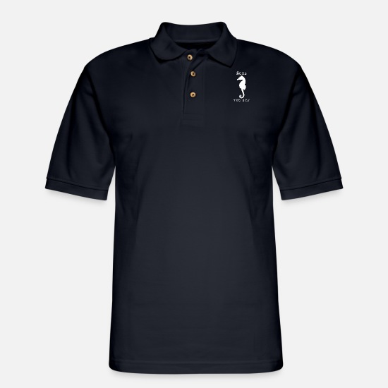 Sea Creatures Polo Shirts - Sea Horse Seas the Day - Men's Pique Polo Shirt midnight navy
