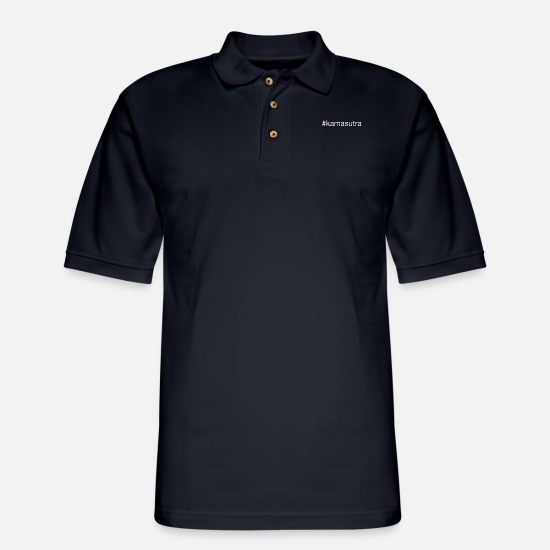 Kama Sutra Polo Shirts - #kamasutra kamasutra sex funny party gift idea - Men's Pique Polo Shirt midnight navy