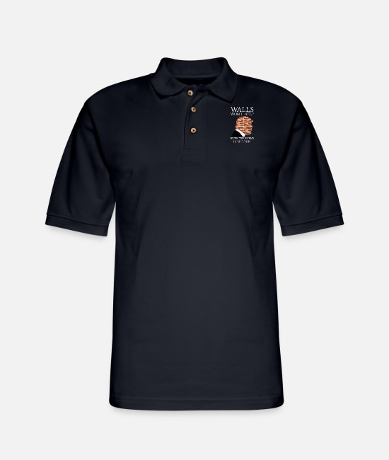 Walls Won't Help When The Enemy Is Within Polo Shirts - Walls won't help when the enemy is within - Men's Pique Polo Shirt midnight navy