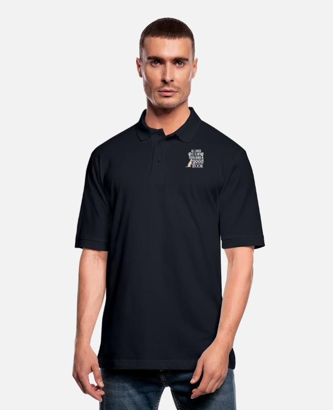 Read Polo Shirts - all i need is my dog and good book - Men's Pique Polo Shirt midnight navy