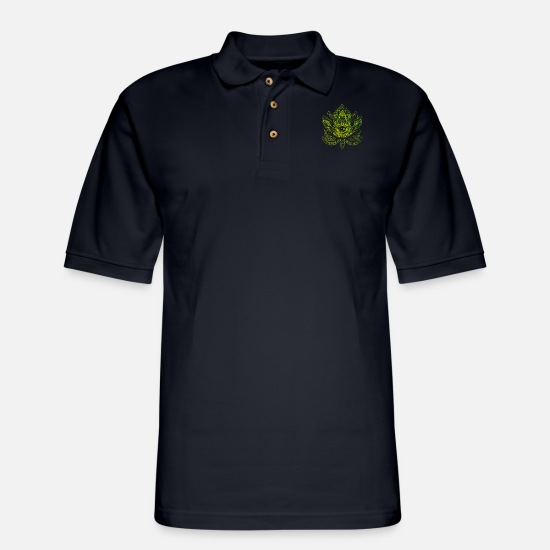Meditation Polo Shirts - Meditation - Men's Pique Polo Shirt midnight navy