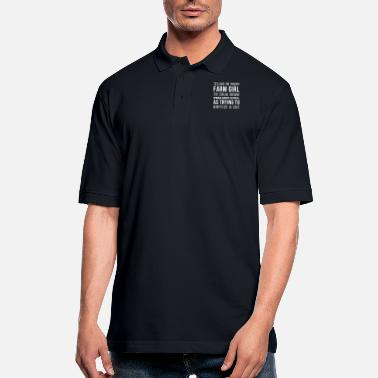 Down Telling an angry farm girl to calm down works abou - Men's Pique Polo Shirt