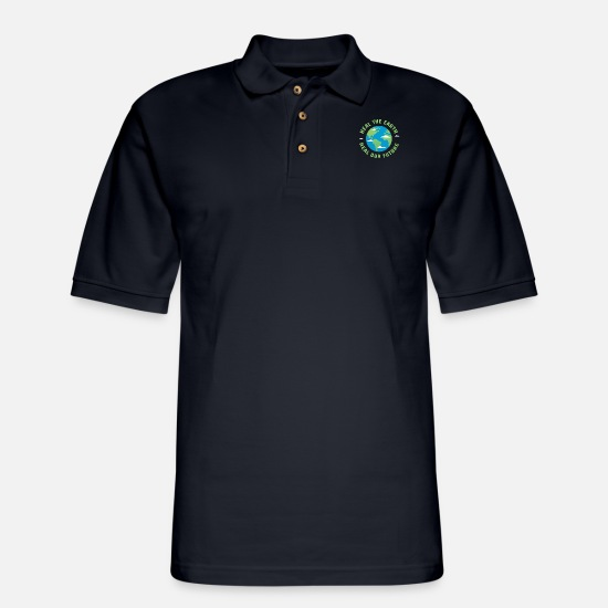 Planet Polo Shirts - Heal the earth Heal our future - Men's Pique Polo Shirt midnight navy