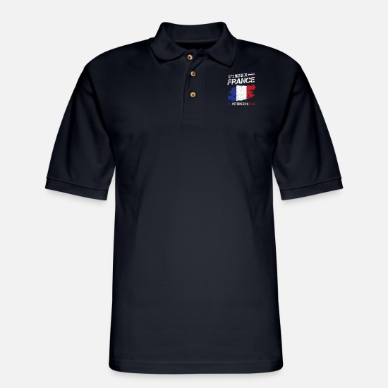 Quote Polo Shirts - France Cool Quote - Men's Pique Polo Shirt midnight navy