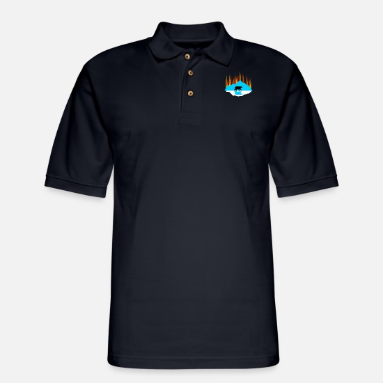 Graphic Polo Shirts - Geometric Outdoor Mountain Graphic - Men's Pique Polo Shirt midnight navy