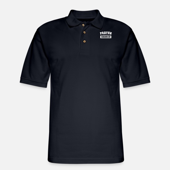 Warrior Polo Shirts - Prayer Warrior - Men's Pique Polo Shirt midnight navy