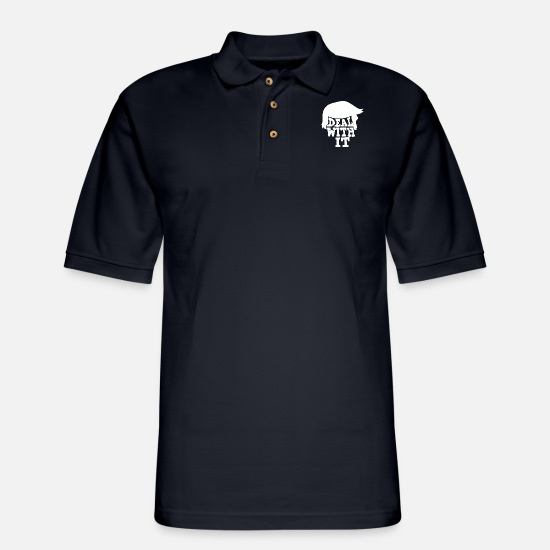 Prevention Polo Shirts - Deal With It - Men's Pique Polo Shirt midnight navy