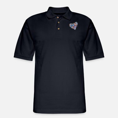 Wing Butterfly heart - Men's Pique Polo Shirt
