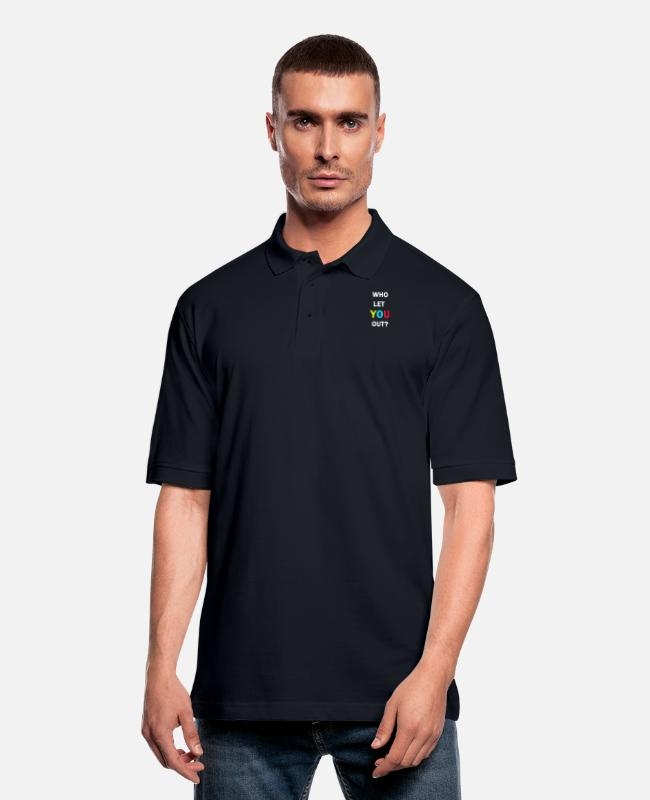 Polo Shirts - Who let you out? - Men's Pique Polo Shirt midnight navy