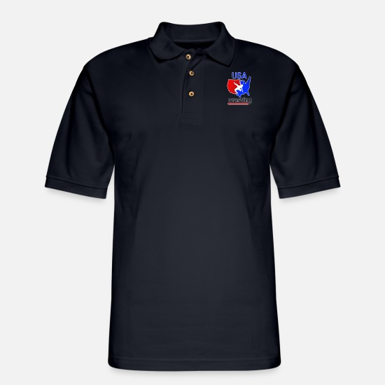 Wrestling Polo Shirts - USA Wrestling Tees - Men's Pique Polo Shirt midnight navy