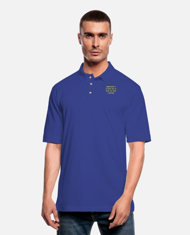 Polo Shirts - Apparently it is more fun to have sex - Men's Pique Polo Shirt royal blue