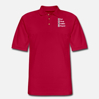 Print T-SHIRT - Eat Sleep Dachshunds Repeat - Men's Pique Polo Shirt