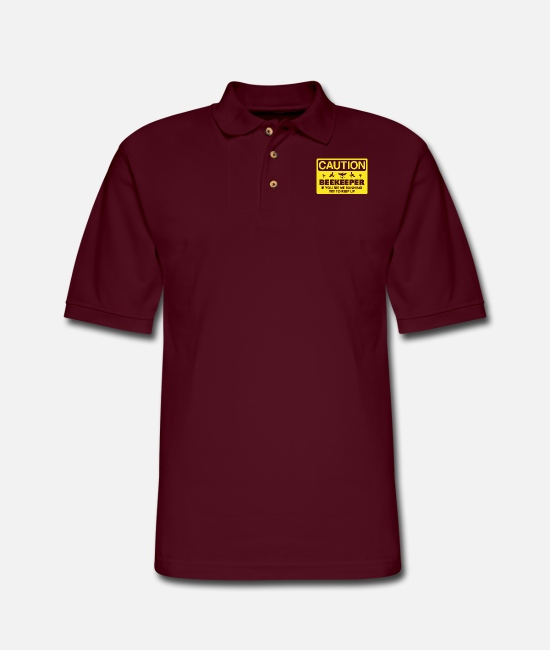 Polo Shirts - Beekeeper beekeeping if you see me running - Men's Pique Polo Shirt burgundy