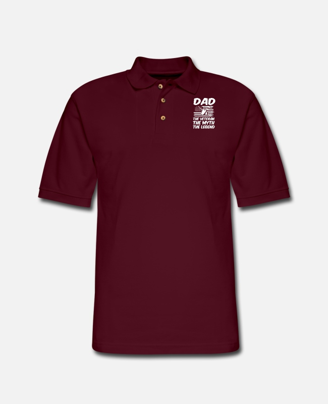 Polo Shirts - dad the veteran the myth the legend dad - Men's Pique Polo Shirt burgundy