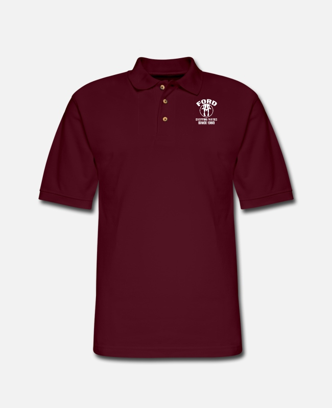 Mustang Polo Shirts - Ford - Dropping panties since 1903 t-shirt - Men's Pique Polo Shirt burgundy