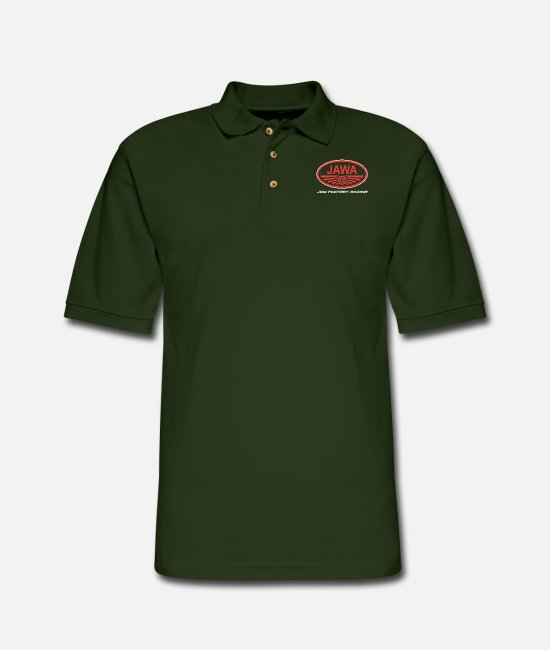 Ball Polo Shirts - jawa logo - Men's Pique Polo Shirt forest green