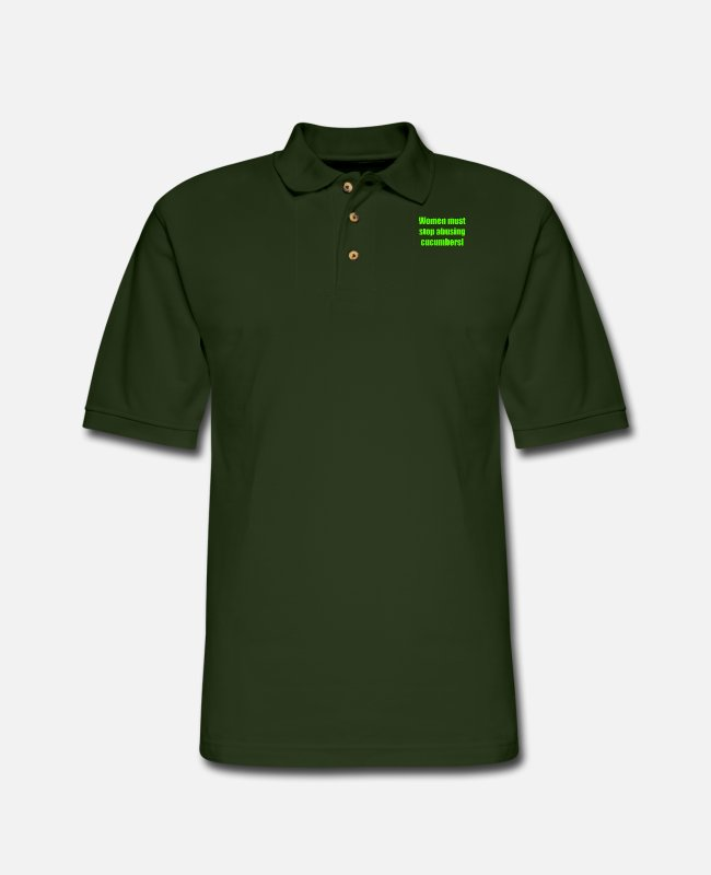 Polo Shirts - Women must stop abusing cucumbers! - Men's Pique Polo Shirt forest green
