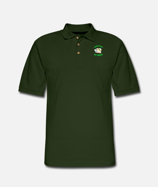 Cannabis Polo Shirts - Higher State - Men's Pique Polo Shirt forest green