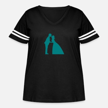 Gown Wedding kiss in bridal gown and suit - Women's Curvy Vintage Sport T-Shirt