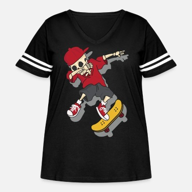 Skateboard Cool Skateboarding Skull and Bones Cartoon Boy - Women's Curvy Vintage Sport T-Shirt