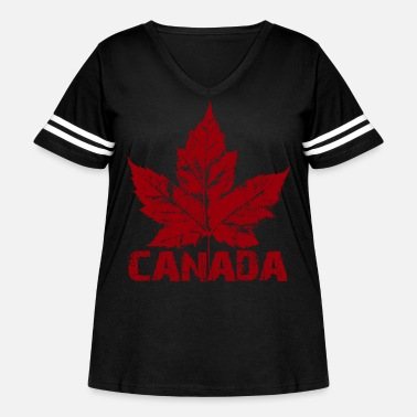 Leaf Cool Canada Souvenir Distressed Maple Leaf Shirts - Women's Curvy Vintage Sport T-Shirt