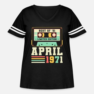 Girls 50th Birthday April Gift Vintage 1971 50 Years - Women's Curvy Vintage Sport T-Shirt