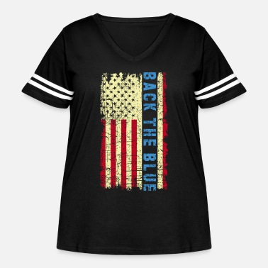 Blue Back The Blue Thin Blue Line USA Flag Police Lives - Women's Curvy Vintage Sport T-Shirt