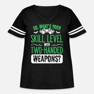 Controller Level Gamer Gaming Weapons Can Halloween - Women's Curvy Vintage Sport T-Shirt