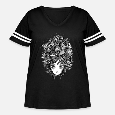 Fish Head Girl with fish head - Women's Curvy Vintage Sport T-Shirt