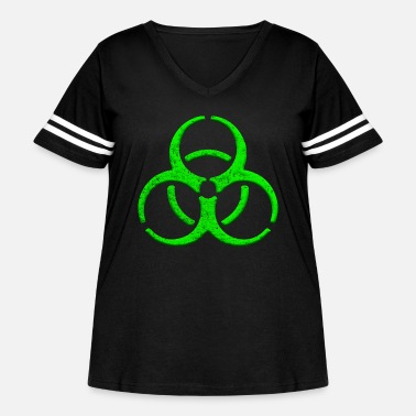 Bio Cool caution biological hazard 3D sign in green. - Women's Curvy Vintage Sport T-Shirt