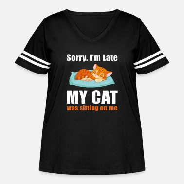 Sitting Sorry im late my cat was sitting on me - Women's Curvy Vintage Sport T-Shirt