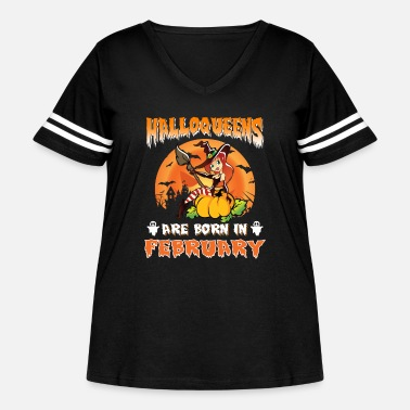 Halloween Halloween Shirt Halloqueens Are Born In February - Women's Curvy Vintage Sport T-Shirt