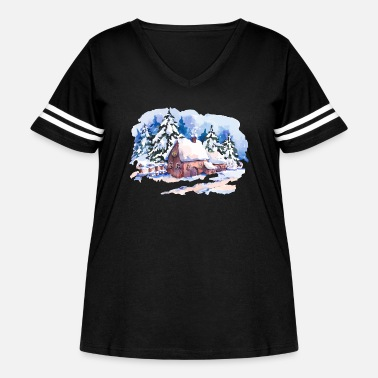 Winter watercolor-landscape-winter-painting-house-trees - Women's Curvy Vintage Sport T-Shirt