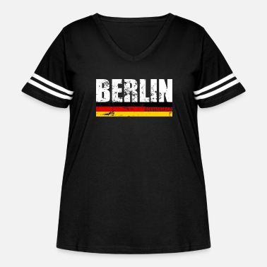 Berlin Berlin Distressed Germany Flag Souvenir Gift Idea - Women's Curvy Vintage Sport T-Shirt