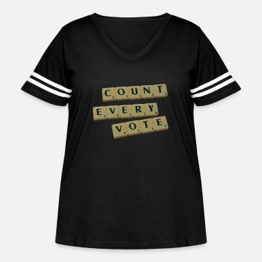 Count Every Vote Letter Tiles - Women's Curvy Vintage Sport T-Shirt