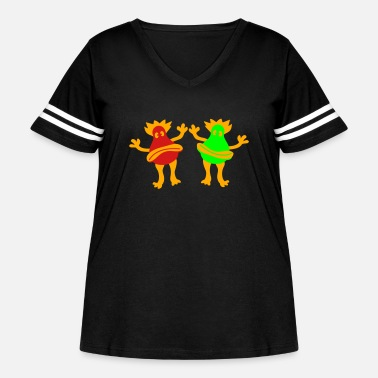 Miscellaneous Joyful happy miscellaneous 2 friends team couple s - Women's Curvy Vintage Sport T-Shirt