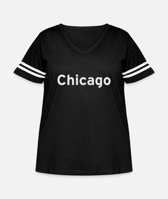 Typography T-Shirts - Chicago - Women's Curvy Vintage Sport T-Shirt black/white
