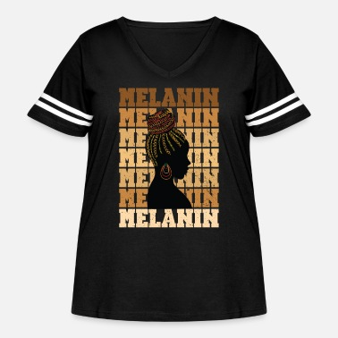 Woke Melanin Shades Natural Hair African American Histo - Women's Curvy Vintage Sport T-Shirt