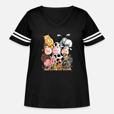 Animal Funny Farm Animals - Women's Curvy Vintage Sport T-Shirt