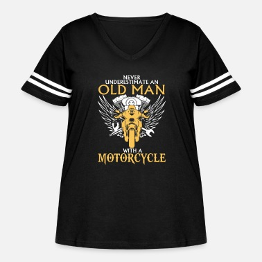 Man Old Man With Motorcycle - Women's Curvy Vintage Sport T-Shirt