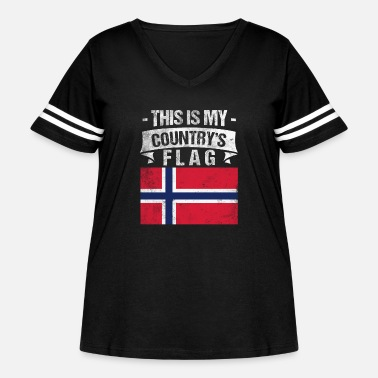 Norwegian Country Flag This is My Country's Flag Norwegian Flag Day Shirt - Women's Curvy Vintage Sport T-Shirt