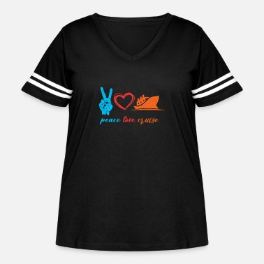 Peace Love Cruise Peace Love Cruise Cruising Cruise Ship Vacation - Women's Curvy Vintage Sport T-Shirt