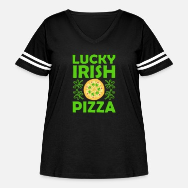 Lucky Charm Funny Lucky Irish Pizza with Shamrock Clover St Pa - Women's Curvy Vintage Sport T-Shirt