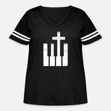 Cross Christianity Keyboard And Cross | Christian Musician - Women's Curvy Vintage Sport T-Shirt