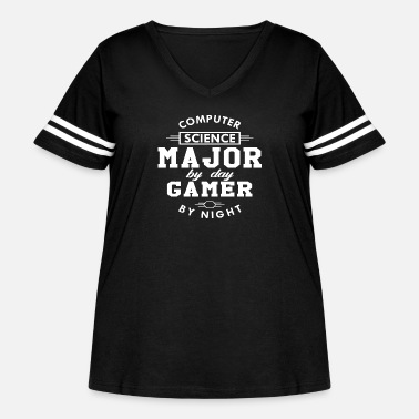 Computer Computer Science Major Gamer - Women's Curvy Vintage Sport T-Shirt