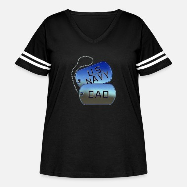 Tag Navy Dad Dog Tags - Women's Curvy Vintage Sport T-Shirt