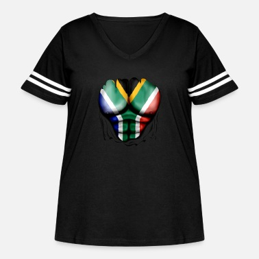 Africa South Africa Flag Ripped Muscles, six pack, chest - Women's Curvy Vintage Sport T-Shirt