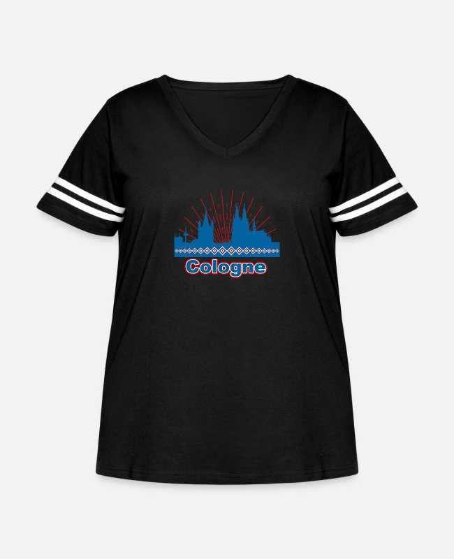 Cologne Cathedral T-Shirts - Cologne - Women's Curvy Vintage Sport T-Shirt black/white